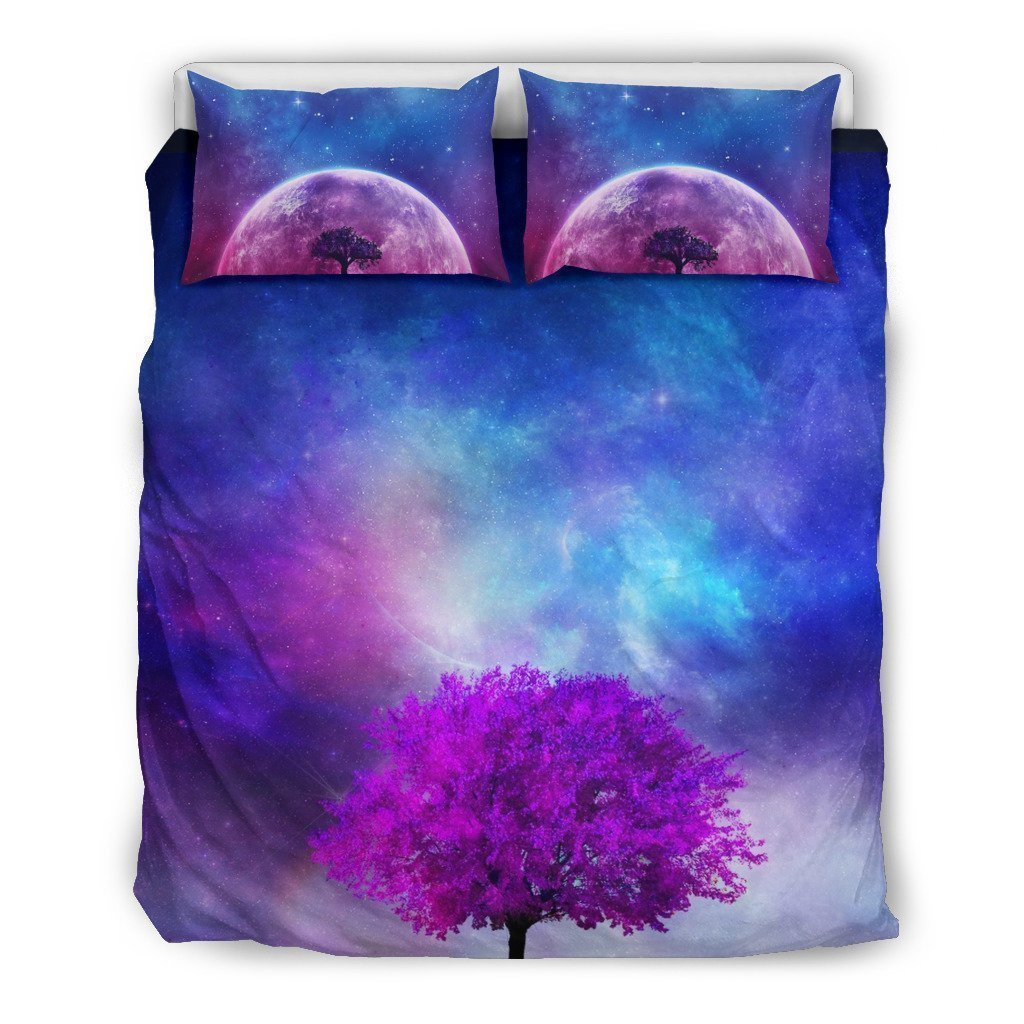 galaxy and moon all over printed bedding set 3