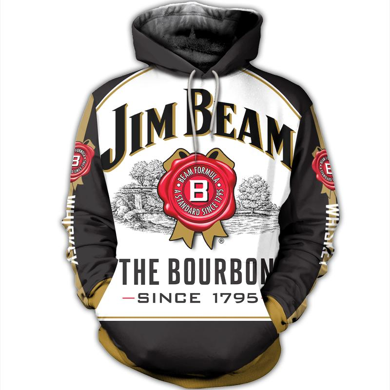 jim beam formula a standard since 1795 full over printed hoodie 1