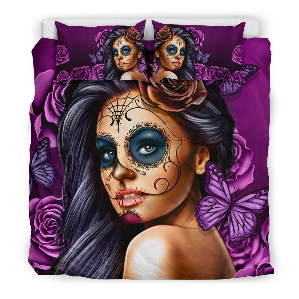 lady sugar skull all over printed bedding set 4