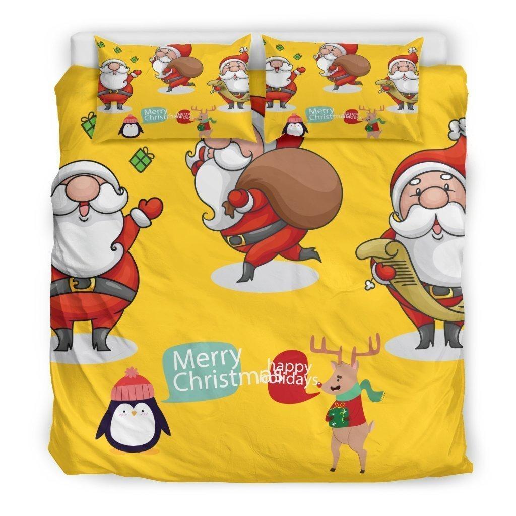 merry christmas santa claus all over printed bedding set 3