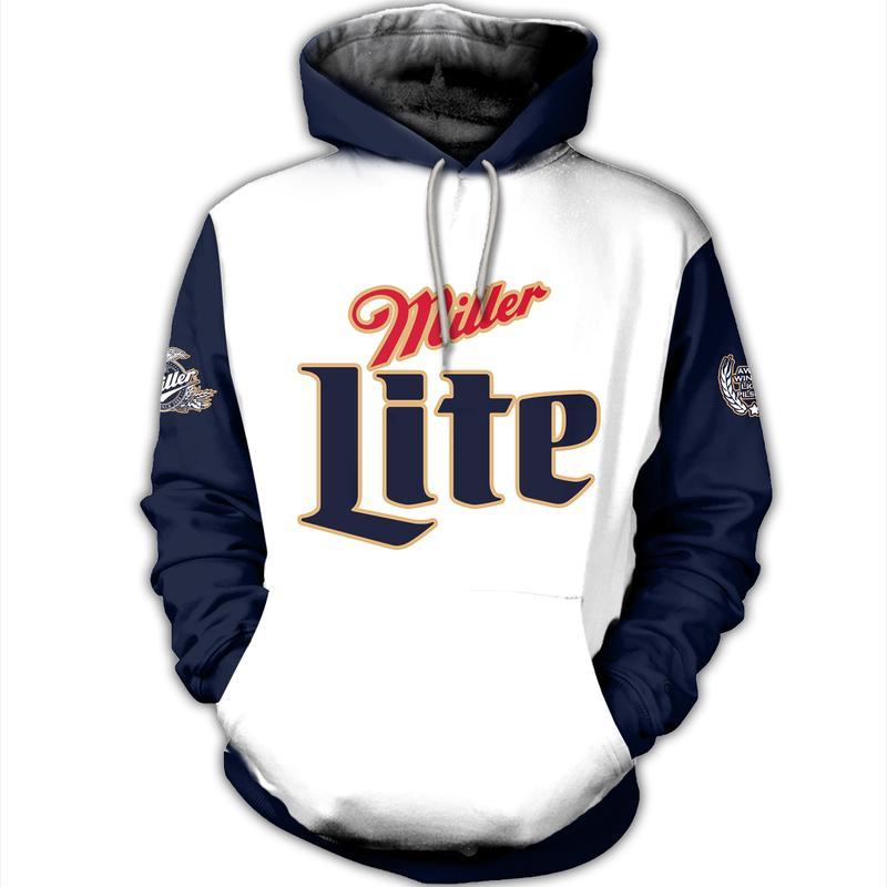 miller lite a fine pilsner beer full over printed hoodie 1
