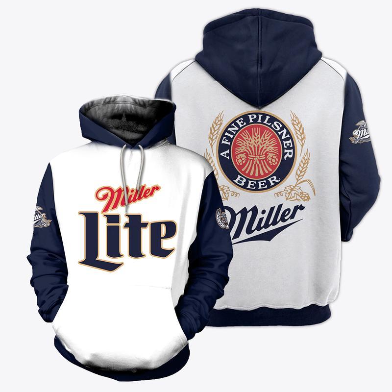 miller lite a fine pilsner beer full over printed shirt 3
