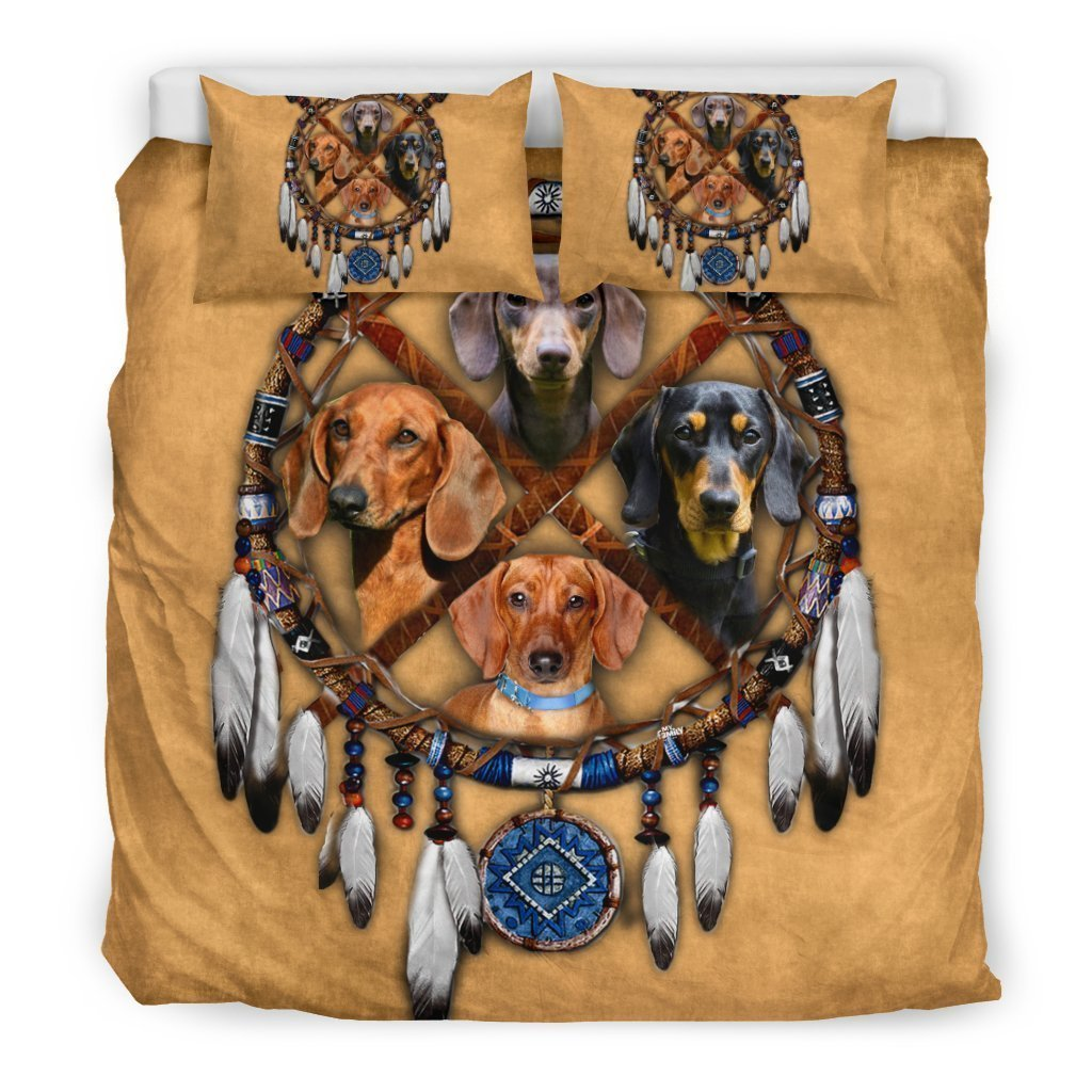 native americans dachshund all over printed bedding set 3