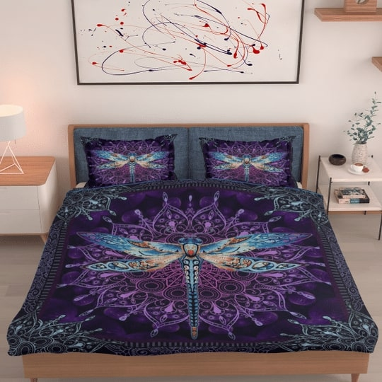 night dragonfly all over printed bedding set 2