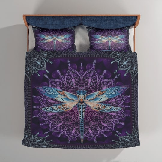night dragonfly all over printed bedding set 4
