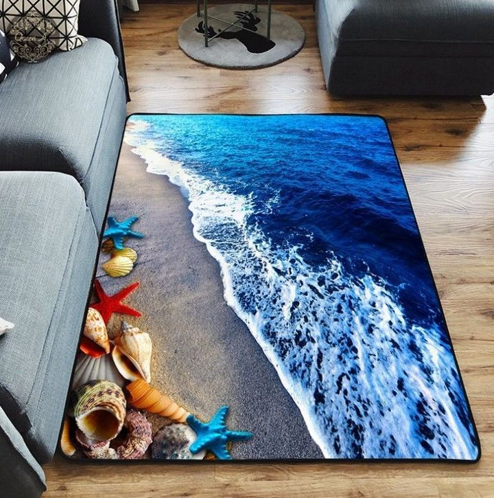 on the beach love summer all over printed rug 2