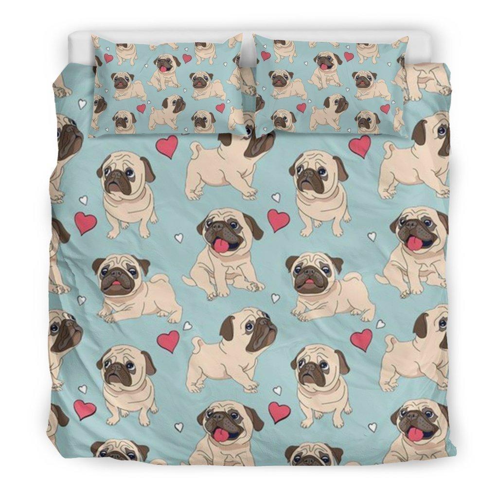 pug dog all over printed bedding set 3
