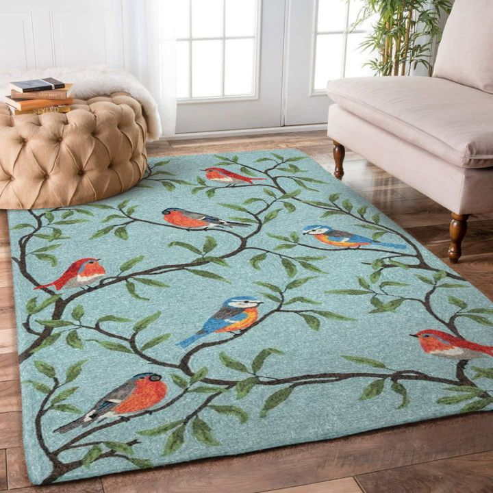 retro bird on the tree all over printed rug 5