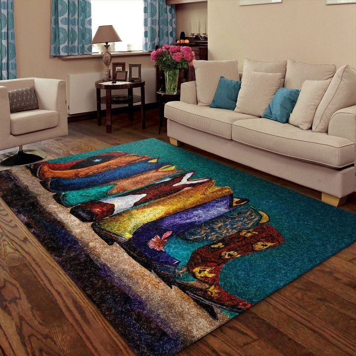 retro boots cowboy all over printed rug 5