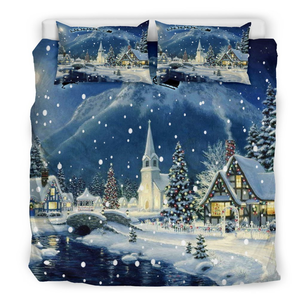 snow in a christmas village all over printed bedding set 5