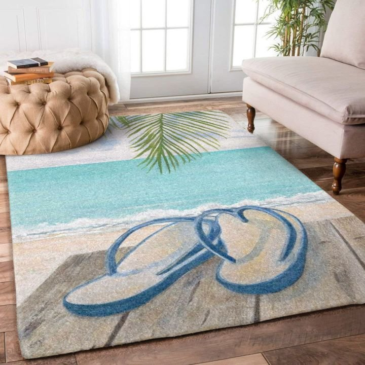 summer time flip flop beach full printing rug 4