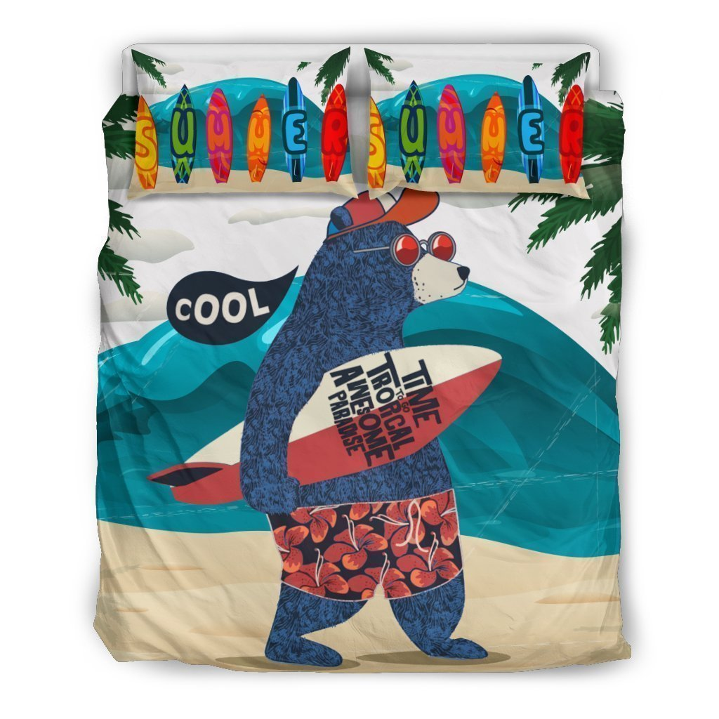 surfing bear all over printed bedding set 4