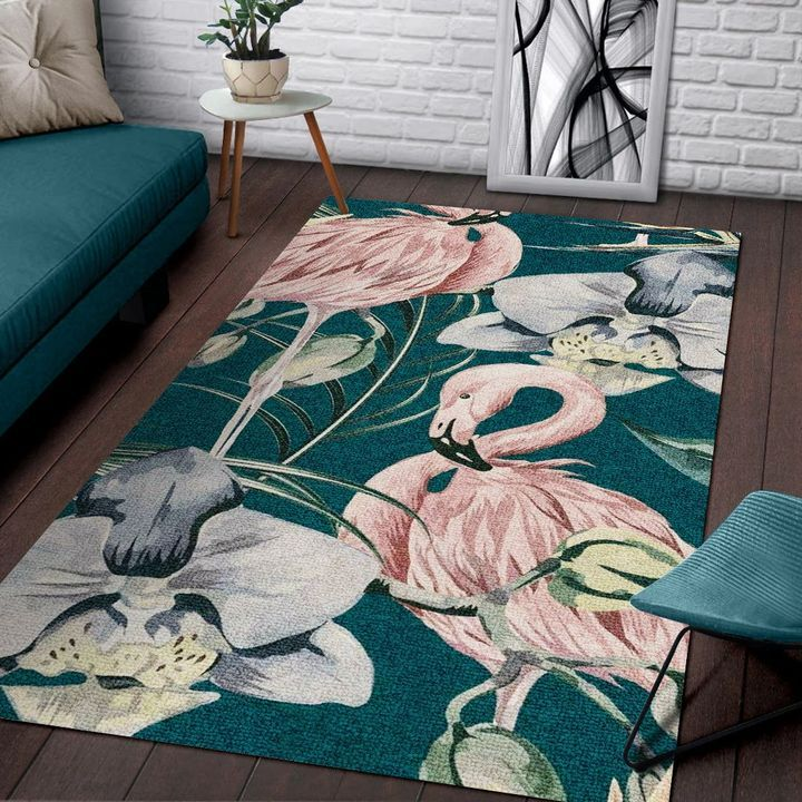 tropical flower and flamingo all over printed rug 4