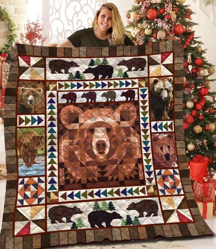 vintage bear in the forest full printing quilt 2