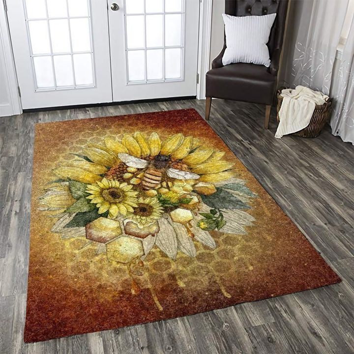 vintage bee and sunflower all over printed rug 4