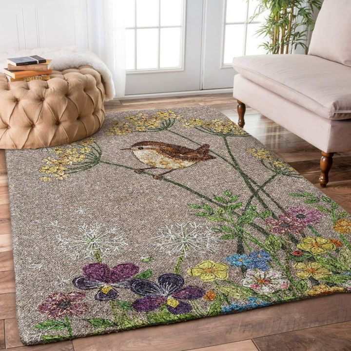 vintage bird and flower all over printed rug 2