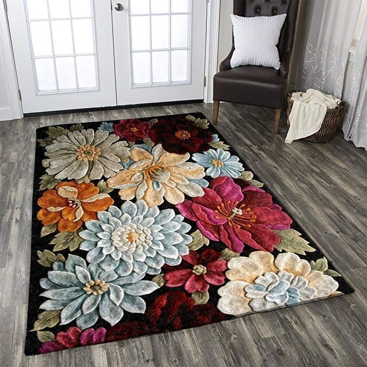 vintage blooming flower all over printed rug 3