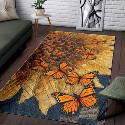 vintage butterflies and sunflower all over printed rug 4