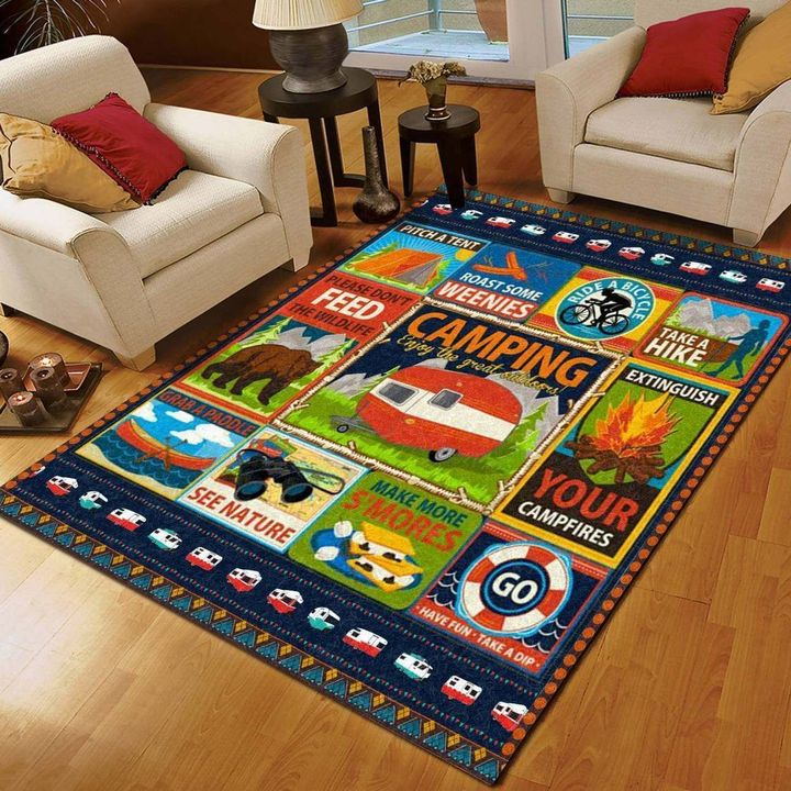 vintage camping outdoor all over printed rug 2