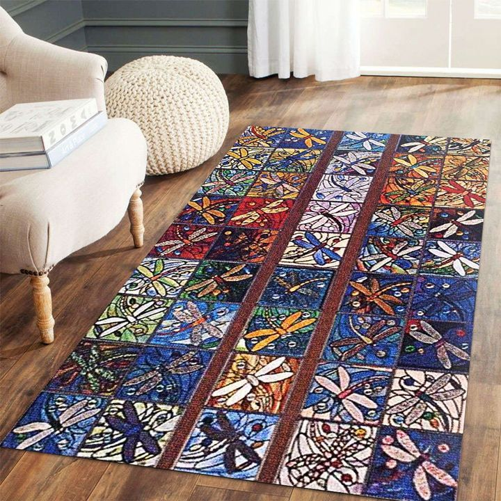 vintage dragonfly colorful all over printed rug 4