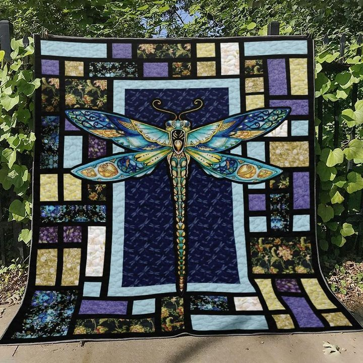 vintage dragonfly night colorful full printing quilt 3
