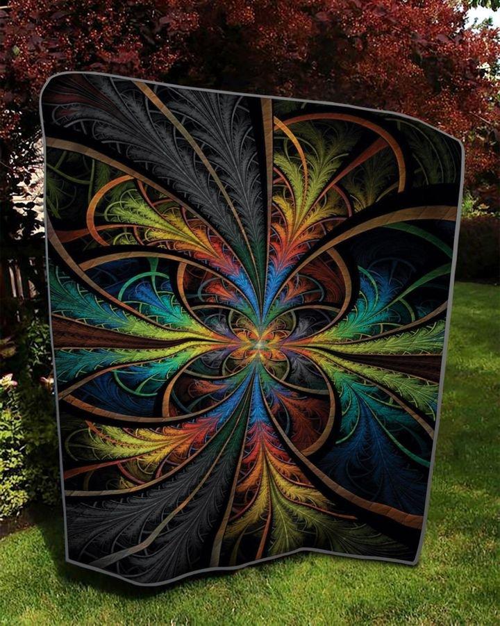 vintage fractal flower colorful full printing quilt 4