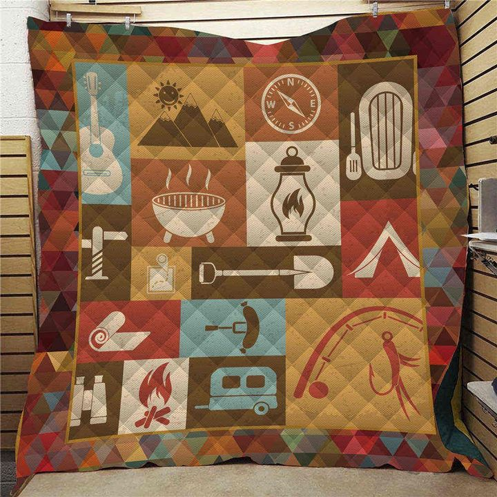 vintage love camping and hang out full printing quilt 2