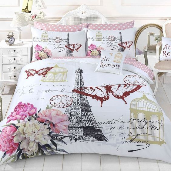 vintage paris and butterfly full printing bedding set 2