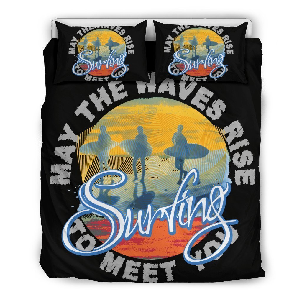 vintage surfing may the waves rise to meet you all over printed bedding set 4