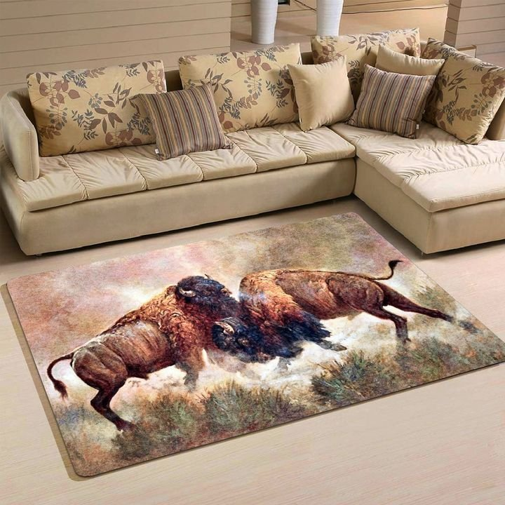 watercolor bison all over printed rug 4