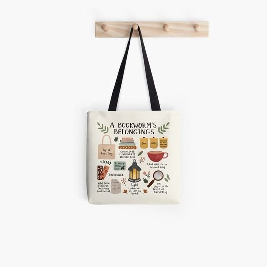 a bookworms belongings all over printed tote bag 3