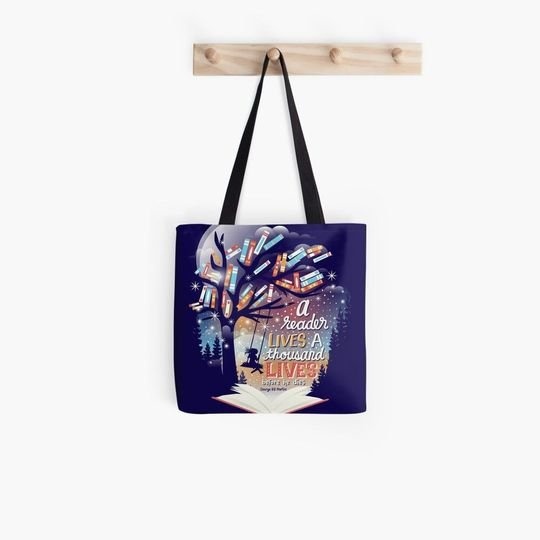 a reader lives a thousand lives before he dies tote bag 3