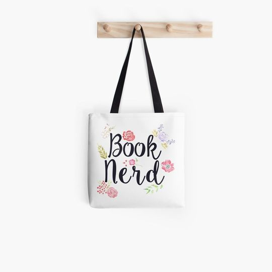 book lovers reading book nerd flower all over printed tote bag 2