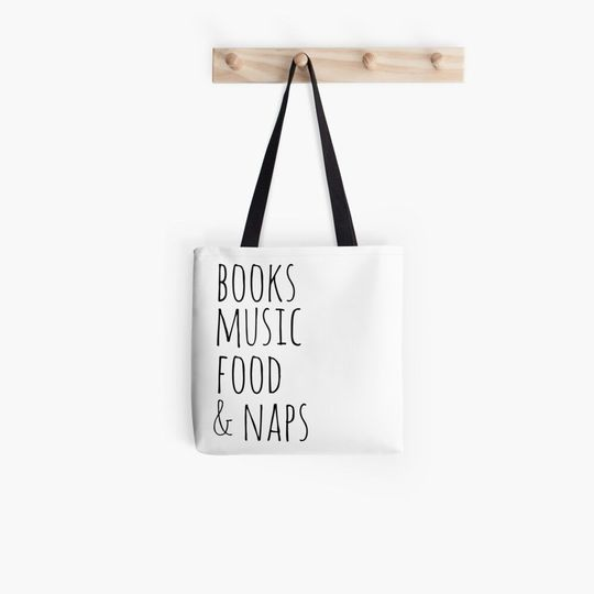 book lovers reading books music food and naps all over printed tote bag 2