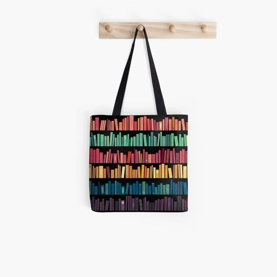 book lovers reading colorful library all over printed tote bag 2