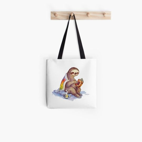 book lovers reading cozy sloth reads book all over printed tote bag 2