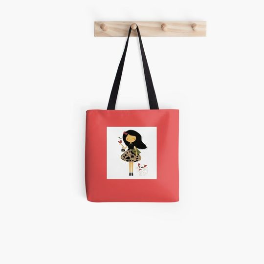 book lovers reading girl and cat all over printed tote bag 5