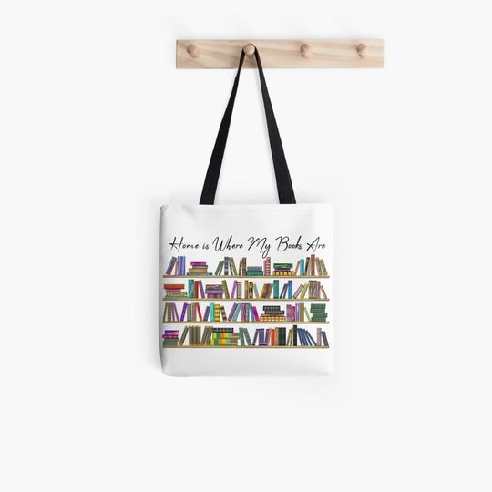 book lovers reading home is where my books are tote bag 4