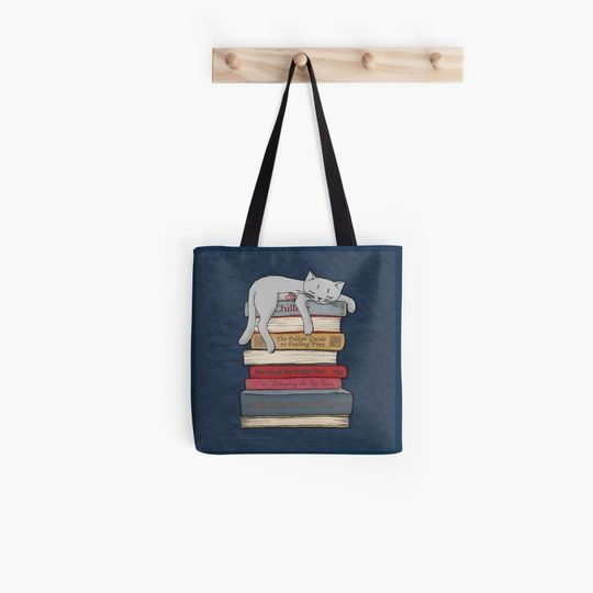 book lovers reading how to chill like a cat tote bag 3