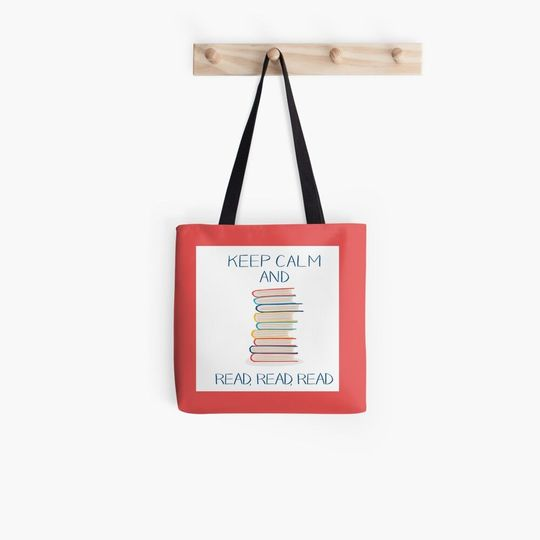 book lovers reading keep calm and reads all over printed tote bag 2