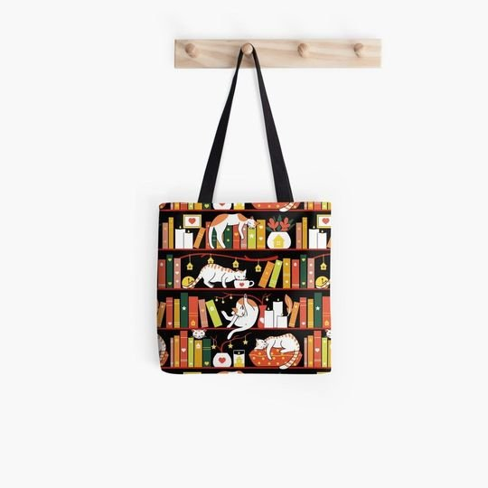 book lovers reading library cats autumn in tote bag 5