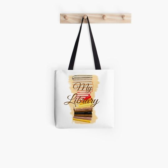 book lovers reading my library all over printed tote bag 5