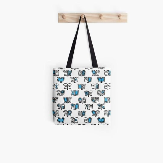 book lovers reading pattern with open books tote bag 5