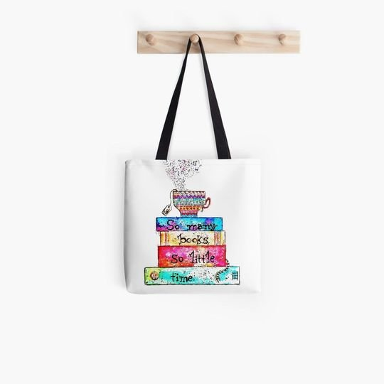 book lovers reading so many books so little time watercolor tote bag 4
