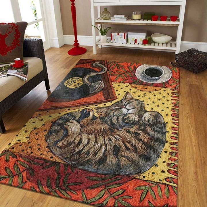 cat lovers vintage cat and music all over printed area rug 3