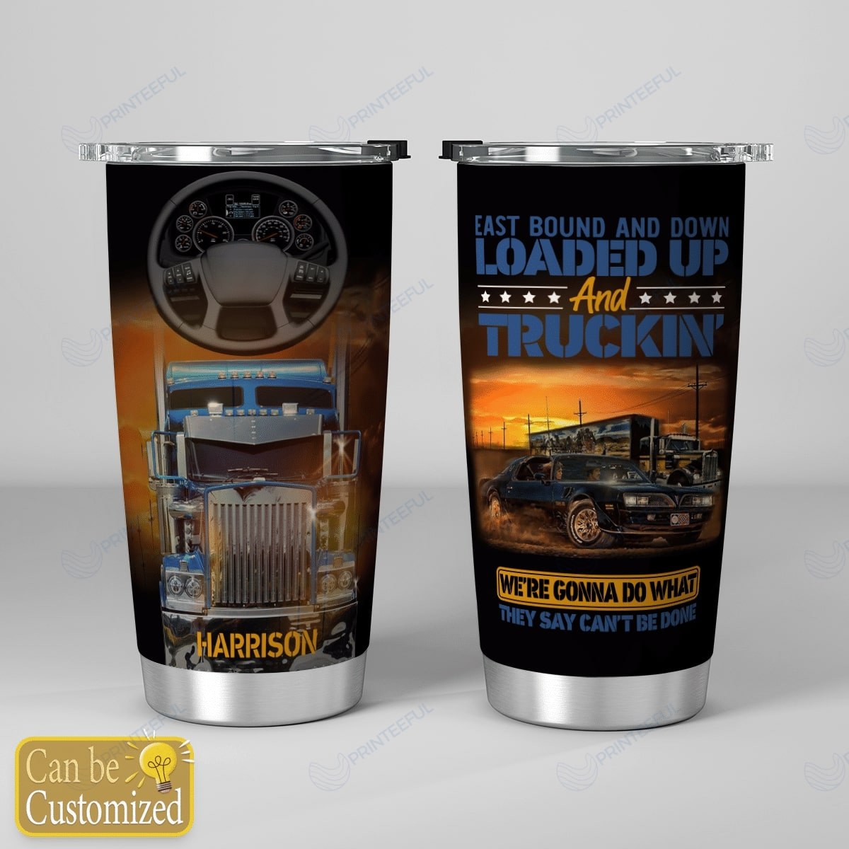 custom name east bound and down loaded up and truckin all over print tumbler 5