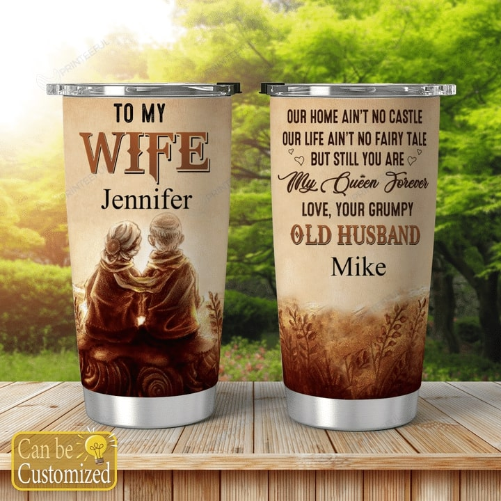 custom to my wife you are my queen forever all over print tumbler 2