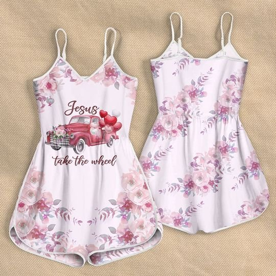 floral Jesus take the wheel all over print rompers 5