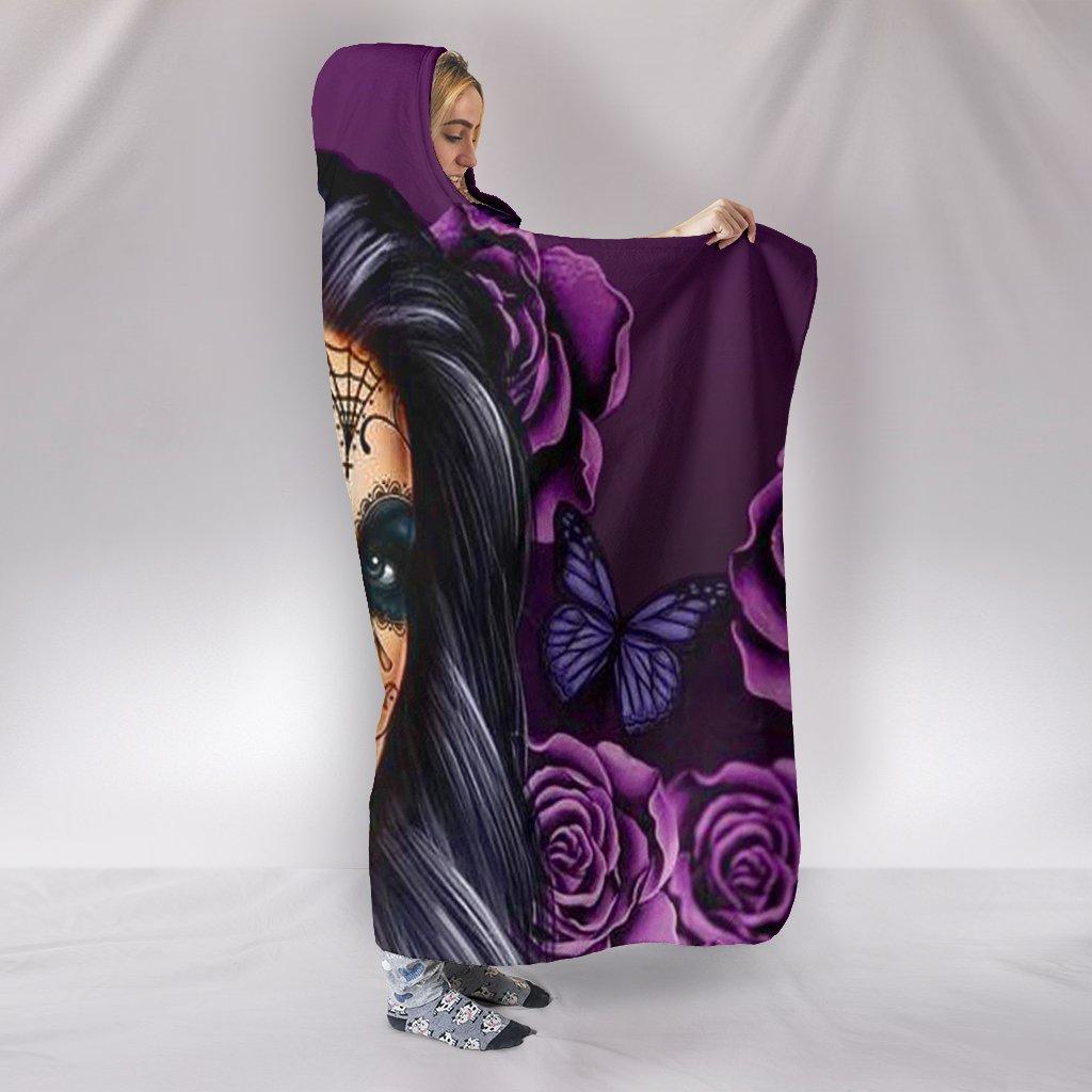 floral sugar skull girl all over print hooded blanket 2