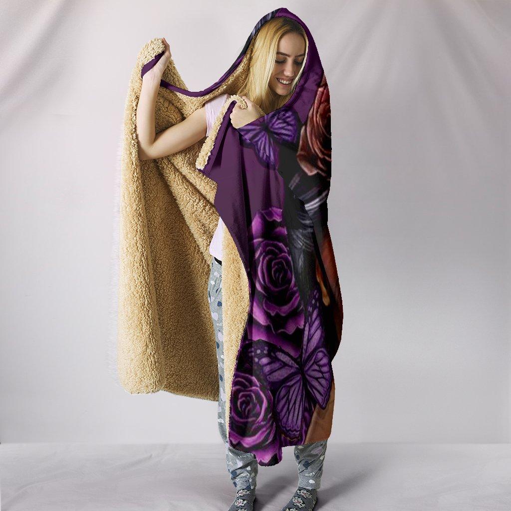 floral sugar skull girl all over print hooded blanket 3